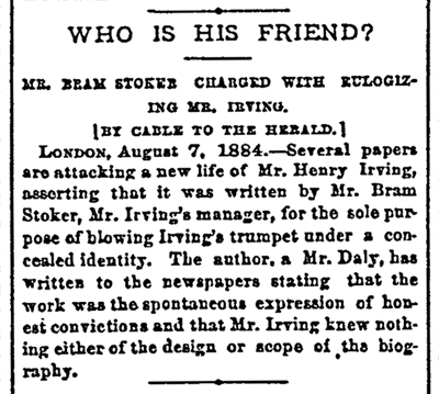 Mr. Bram Stoker Charged with Eulogizing Mr. Irving
